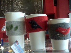 Handmade coffee cup sleeves at Red Tree Coffee Shop