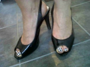 Patent Leather Pumps and Houndstooth Toes