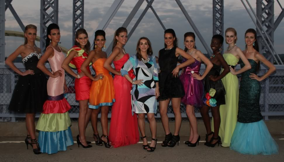Amy's brightly colored first collection featured at Red, Pink and Blue Fashion Show on June 25 (click to enlarge)