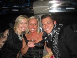 Me and my staffers Stephanie and Drew in the limo on our way to Krombholz Jewelers!