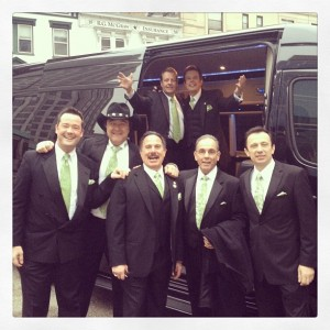 My hubby and his Italian buddies getting out of the limo!