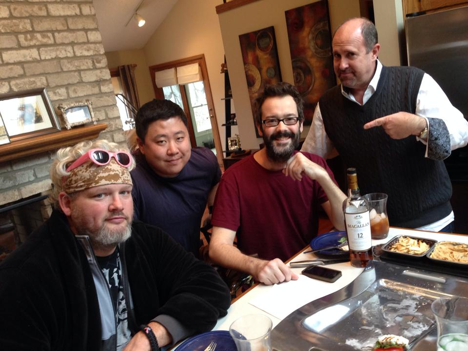 Joe Yoo (center) and friends visiting after Pete's surgery