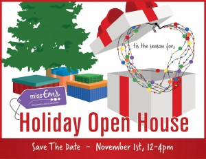 Don't miss the Miss Em's Holiday Open House on Nov. 1 at the Anderson Senior Center!