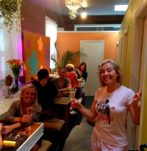 The staff and I enjoying a pamper party in their private spa area